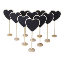 10pcs Mini Cute Heart Shaped Wooden Message Blackboards with Base for Parties/Receptions(China)