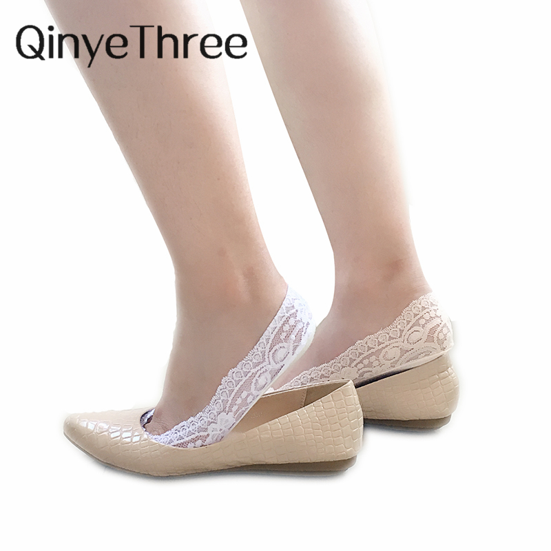 High quality free shipping Women Girls Cotton Lace Antiskid Invisible Liner No Show Peds Low Cut Socks Skin Sock Slippers Sox ...
