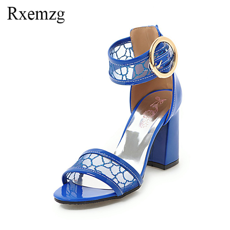 Rxemzg New Fashion Mesh Buckle Ankle Strap Summer 2018 Woman Shoes Open Toe High Heels Women Sandals Womens Dress Party Shoes Shoes High Heels