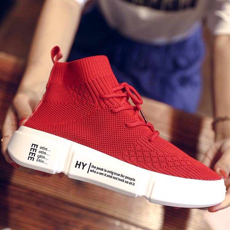 723c8140569c91 forme rouge Nouveau Chaussette Lumière La Chaussures Sneakers Avec High  Plat Top Élégant blanc Noir Casual Femmes Solide Tenis Plate ...