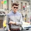Высокого Качества для Мужчин, Рубашки С Длинным Рукавом Хлопок Лен Платье человека Бизнес Одежда Отложным Воротником Социальной Бренд Рубашки MDSS1511