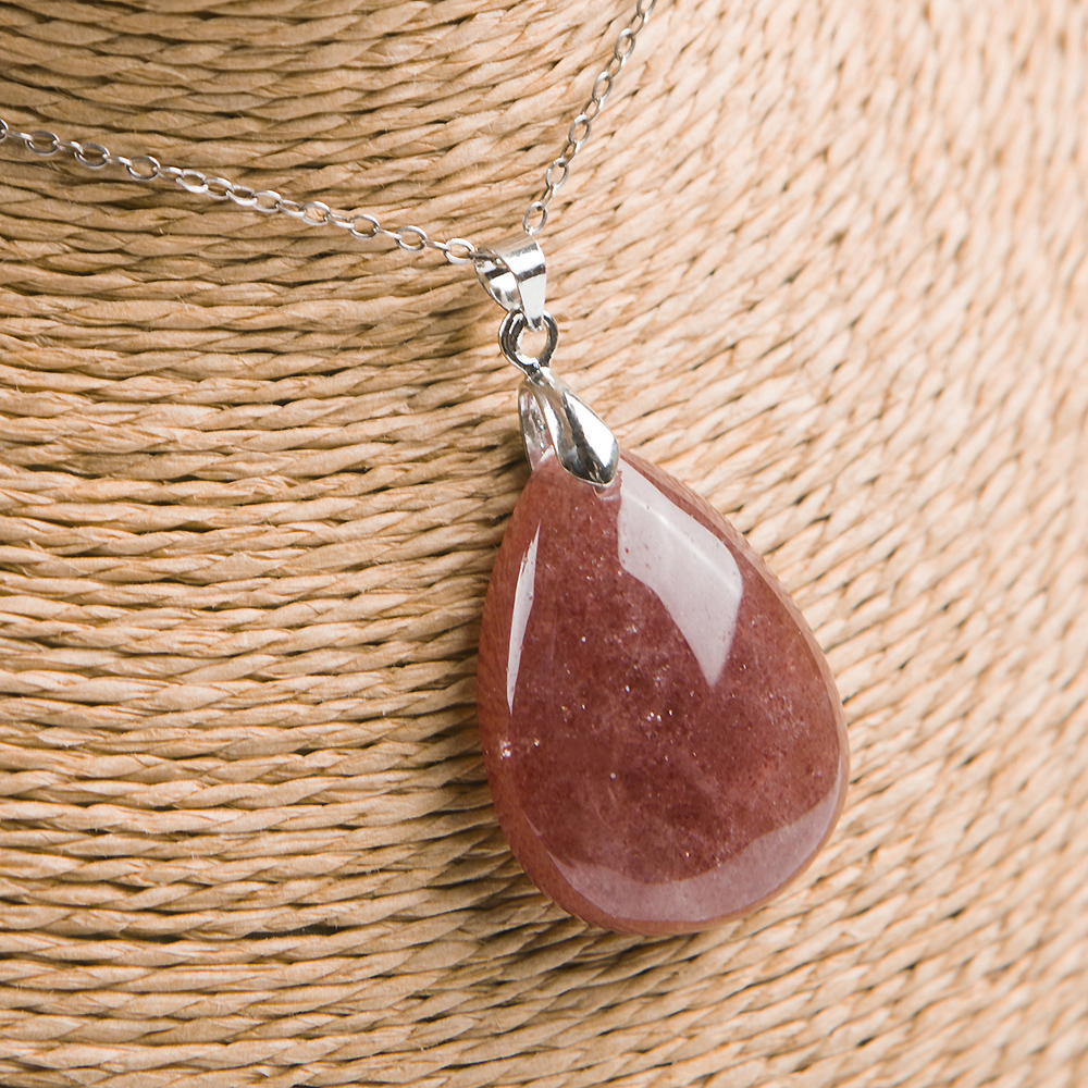 Natural Red Ice Strawberry Quartz Pendant Women Anniversary Crystal Healing Stone 30x23x9mm Necklace For Love Pendant Jewelry in Charms from Jewelry Accessories