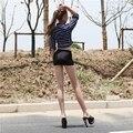 Hot Sexy Aceite Brillante Mini Falda Faldas Lápiz Apretado Super Night Club Micro Mini Falda Fantasía Erótica Desgaste FX1015