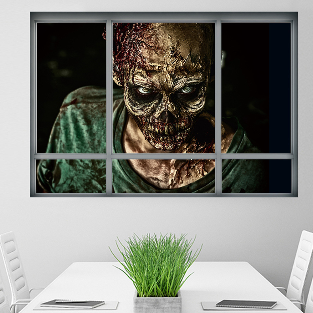 Halloween Zombie Wall Stickers Horror Poster Window View ...