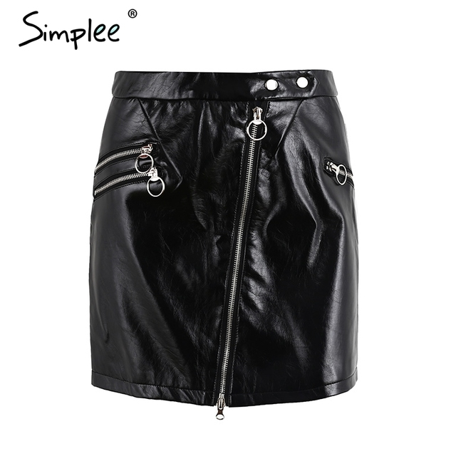 Simplee Faux leather zipper punk rock skirt Women fashion streetwear black short skirt Summer autumn party club mini skirt