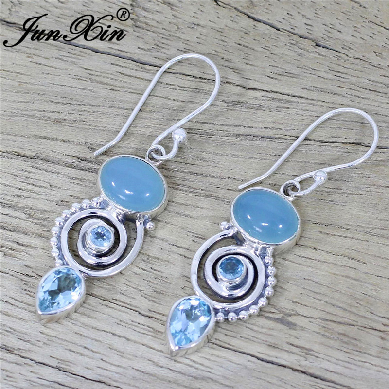 HTB1uWwkX5HrK1Rjy0Flq6AsaFXal - JUNXIN Antique Silver Geometry Moonstone Drop Earrings For Women Boho Round Red Blue Opal Earrings Female Zircon Wedding Jewelry