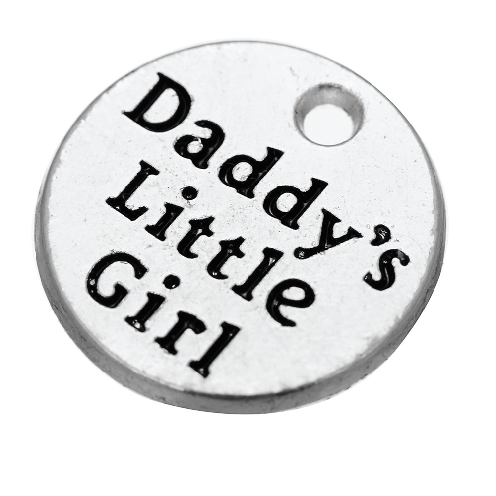 10Pcs/Lot Charms Daddy'S Little Girl DIY Jewelry Findings Antique Silver Color <font><b>15x15mm</b></font> Daddy'S Little Girl Charms image