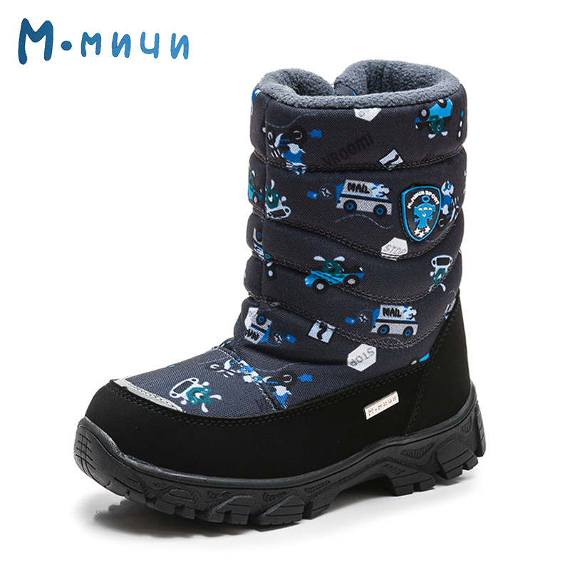 MMNUN Cartoon Print Boys Winter Shoes Boots High Quality Winter Boots for Children Toddle Boys Winter Boots Kids Size 27-32