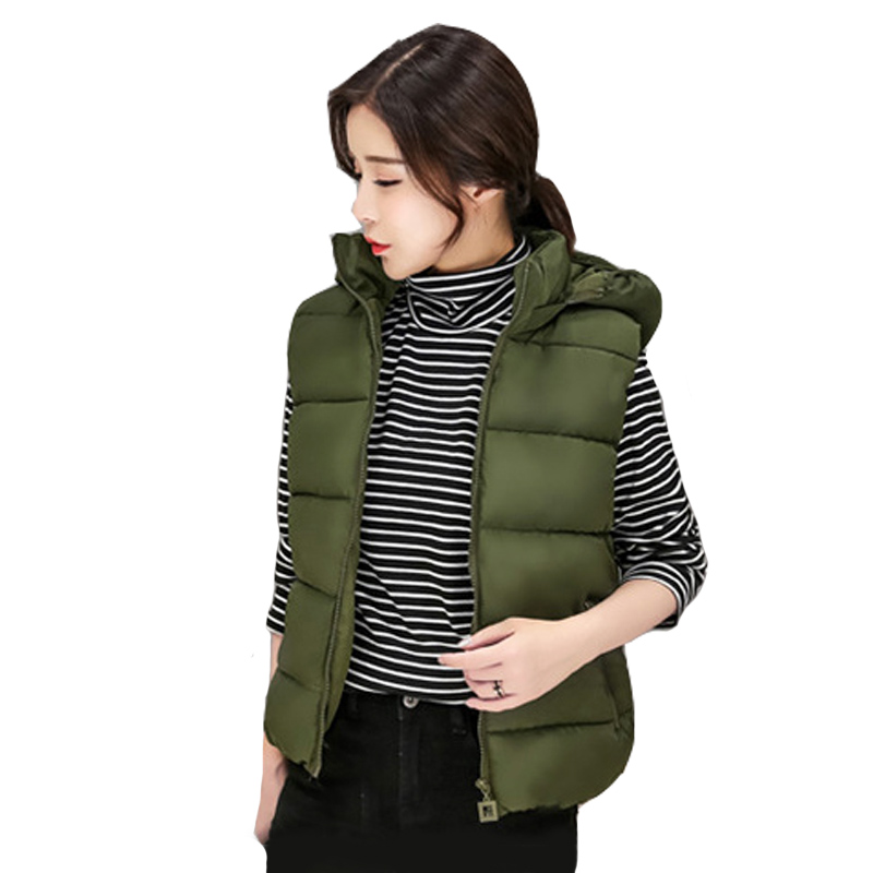 women's cotton wool collar hooded down vest Removable hat Hot high quality Brand New female winter warm Jacket Thicken fasicat 2015 brand zipautumn winter women s fashion cotton vest collar warm down vest women warm cotton jacket factory 180173