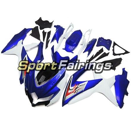 Литой мотоциклетный комплект обтекателей для Suzuki GSXR600 GSXR750 K8 08 09 10 2008 2009 2010 ABS Пластик Обтекатели сине-белые