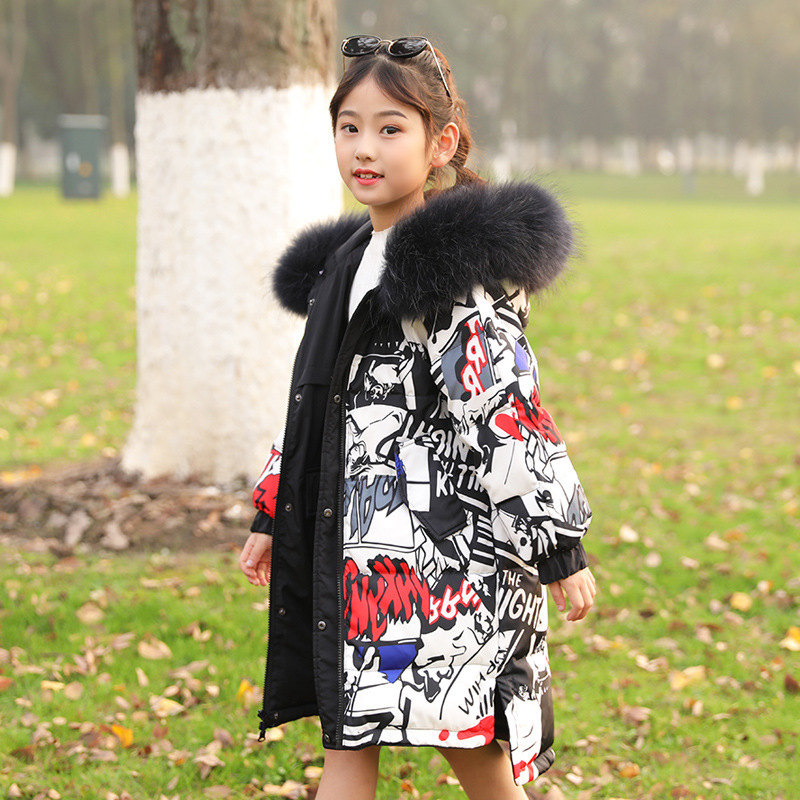 Kids Girls Hooded Jacket Fur Lined Thick Outwear Embroider Colorful Big Fur Coat
