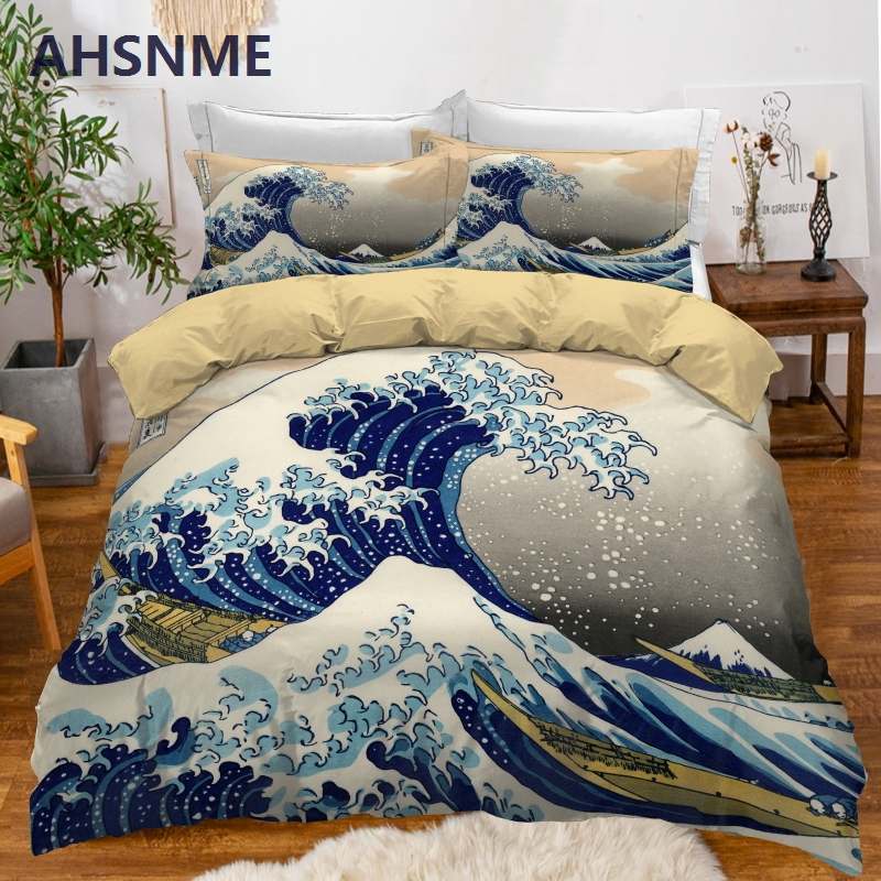 Ahsnme Sea Surfing Printed Duvet Cover Set 2 3pcs Bedding Set