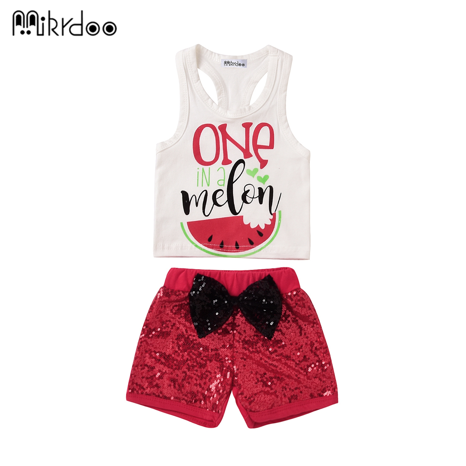HOT SALE baby girl clothes cartoon sequins red pants with bow summer clothing cotton shirt baby clothes Set short-sleeved