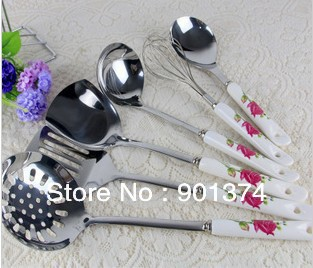 stainless steel cookware set ,Ceramic handle, kitchen utensils, spatula, 7 ones/set, free shipping