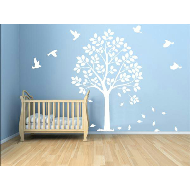 Muursticker Boom Wit.Wit Muursticker Boom Happy Tree Side Boom Vogels Woonkamer