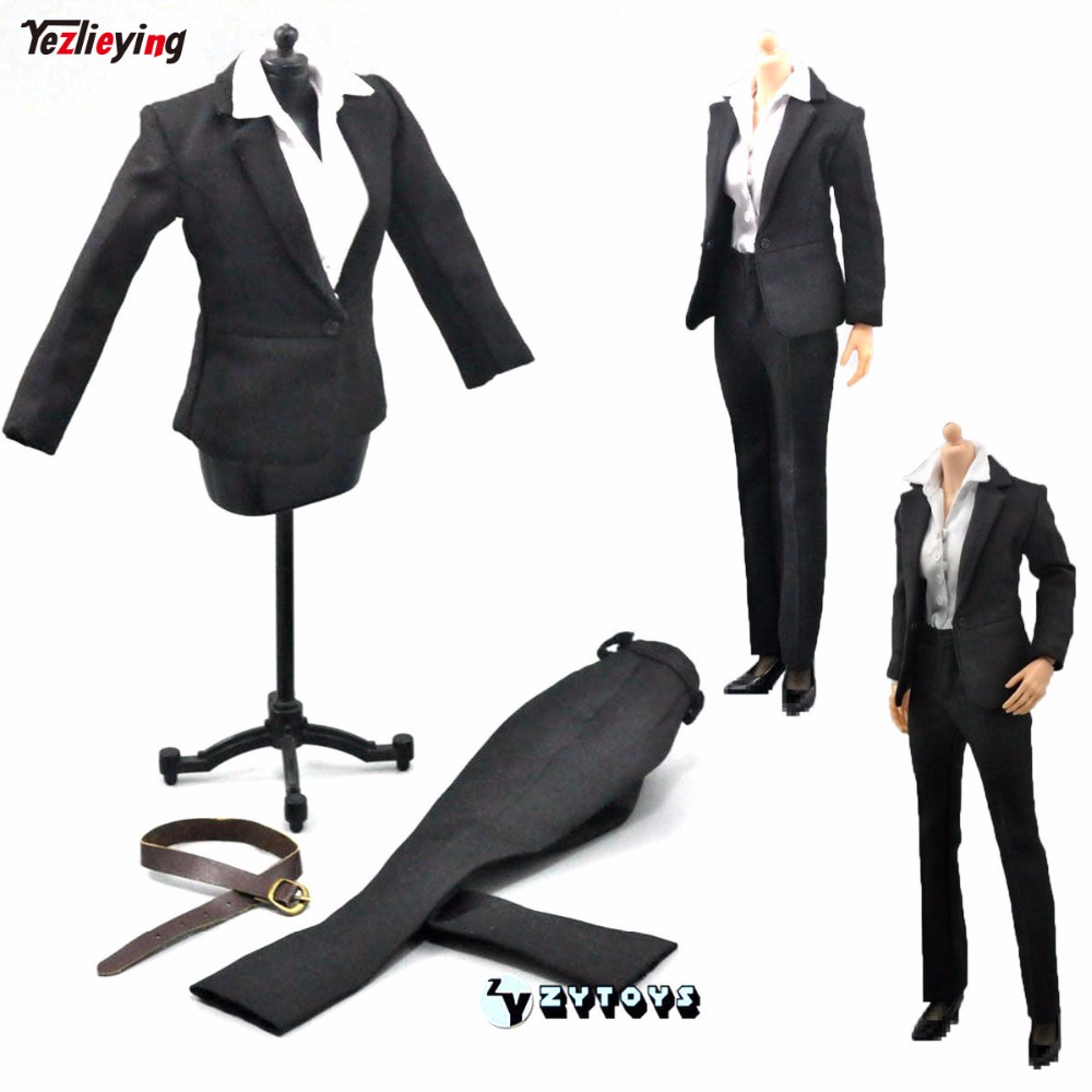1:6th Scale Model ZY TOYS Womens Female Occupation Business Career Office Clothes Shirt Pant Suit Set Fit 12 Inch Action Figure