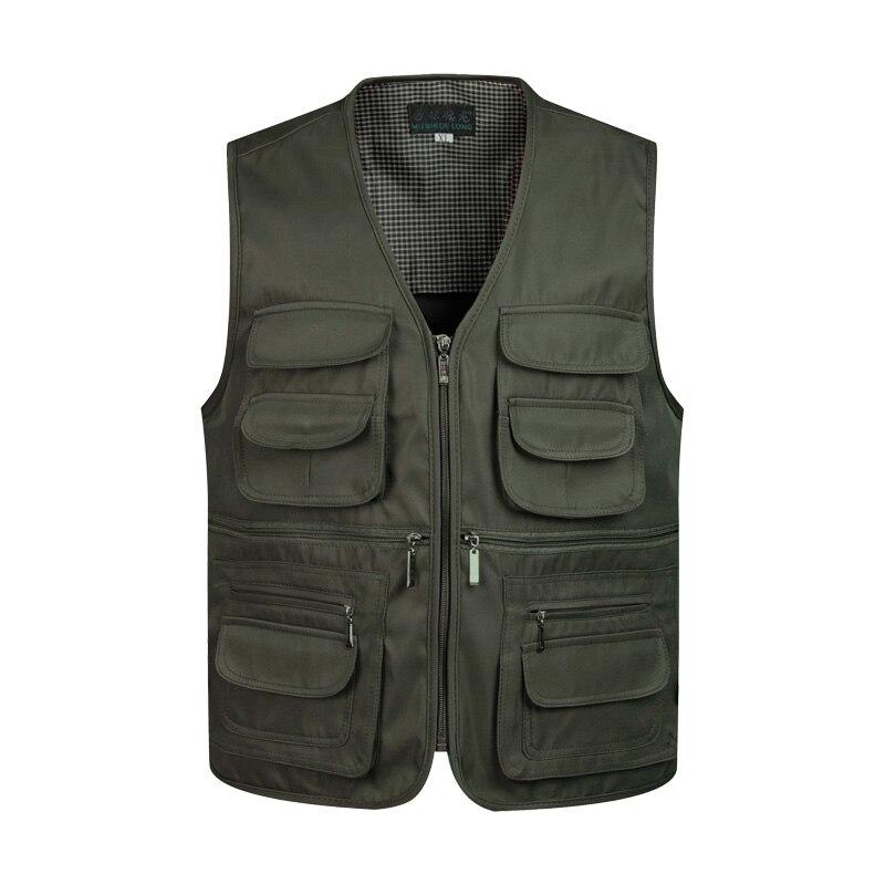 2017 Men Multi-Pocket Classic Waistcoat Male Sleeveless Unloading Solid Coat Work Vest Photographer Tactical Masculino Jacket