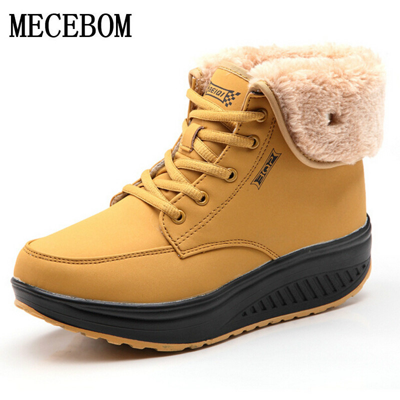 Women Snow boots Wedges Ankle Boots Fashion Slimming Swing Shoes Plush Solid Round Toe Platform Shoes Lady Casual Winter 6805W