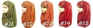 Image 4 - 10pcs/lot Gold Glitter Shimmer Scarf Shawl Head Wrap Plain Color Long Shawls Muslim Scarves Hijab