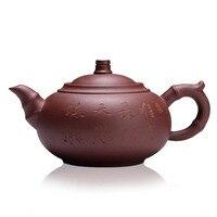 360ml Handmade Jiangsu Yi Xing Purple Clay Teapot With Letter Painting Puer Tea Kung Fu Teapot