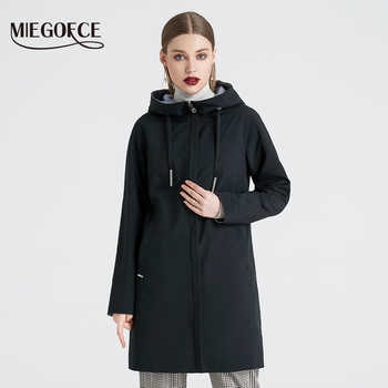 MIEGOFCE 2019 Spring and Autumn Long Women\'s Trench Coat Stand Collar Hooded Female Slim Synthetic Women\'s Coat New Design