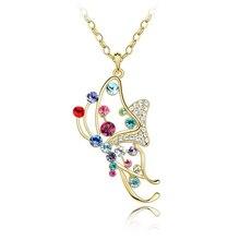 Vestido hermoso de La Mariposa Colgante Collar Hecho con el Elemento de Swarovski de Moda Larga Cadena de la Joyería Del Partido de Cristal de Swarovski