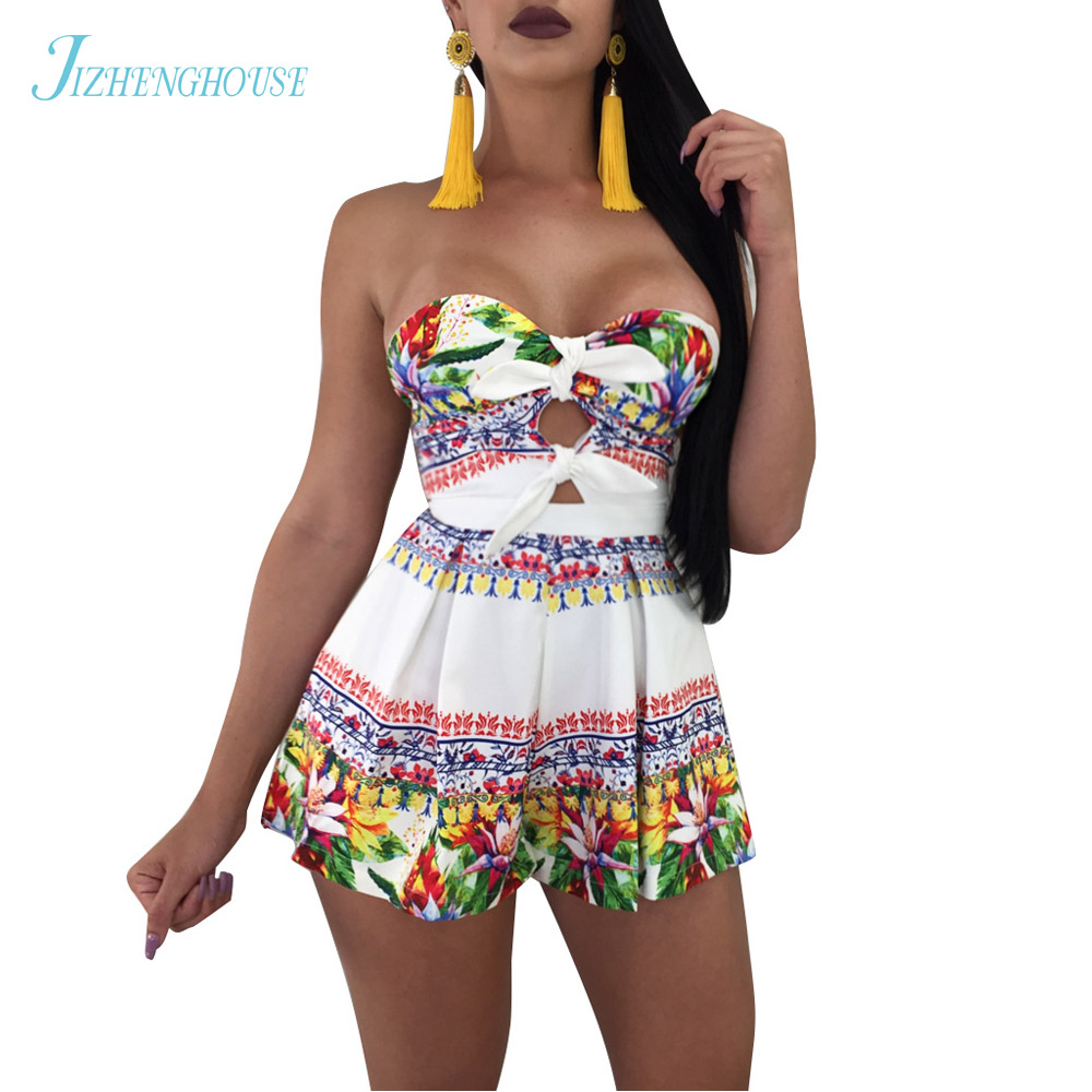 JIZHENGHOUSE Women Elegant Summer Floral Jumpsuits Rompers Sexy Beach Girls Short Overalls Boho Floral Print Short Playsuits