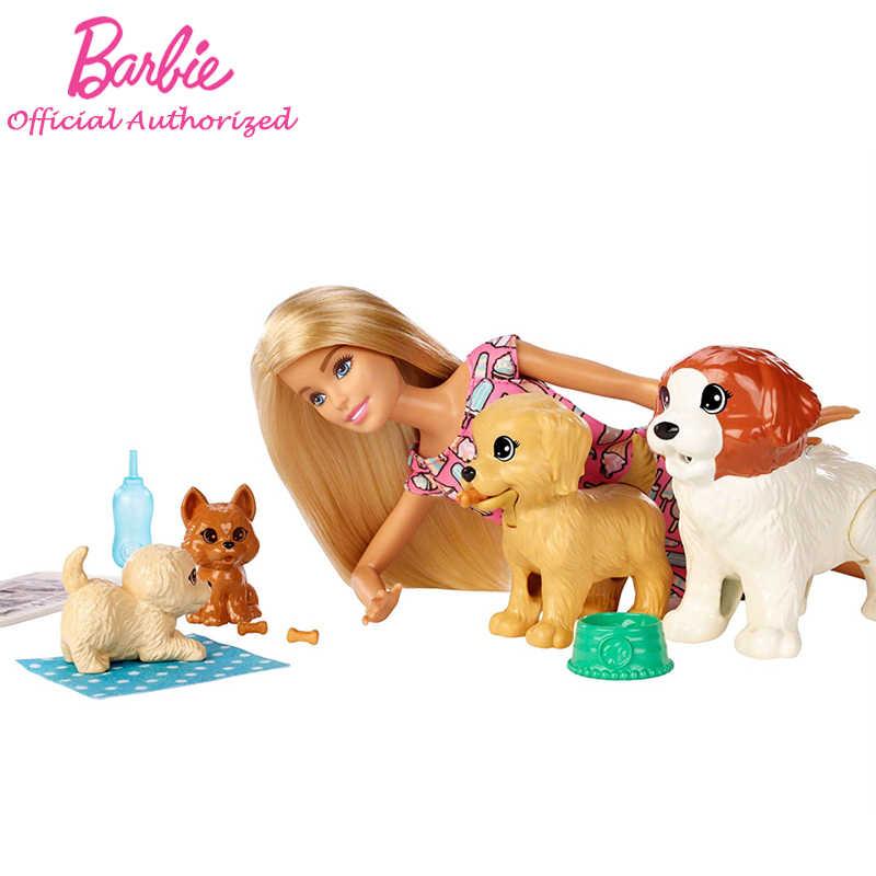 2019 Barbie Original marca Doggy guardería muñeca y mascotas simulan Barbie juguete encantador perro Boneca modo FXH08 para cumpleaños de niños regalo