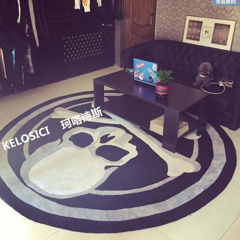 Tapis rond tapis tendance personnalité noir/blanc salon canapé-lit chambre mode tapis personnalisé enfants chambre grand tapis