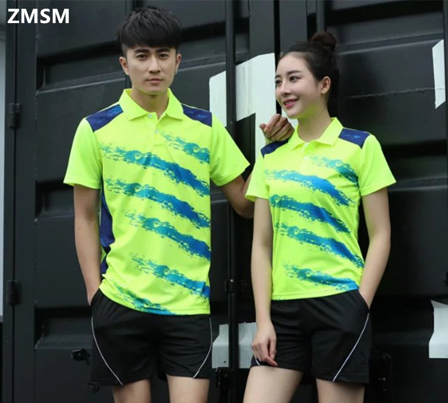 ZMSM 2017 Twill printing Couples mounted Men women Tennis Shirts shorts kit Sports Badminton Table Tennis