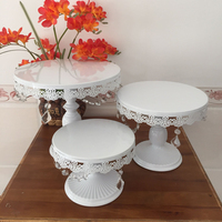 White Cake Stand Metal Iron Crystal Pendant Cupcake Stand Wedding Party Decoration Supplier Baking Cake Accessory