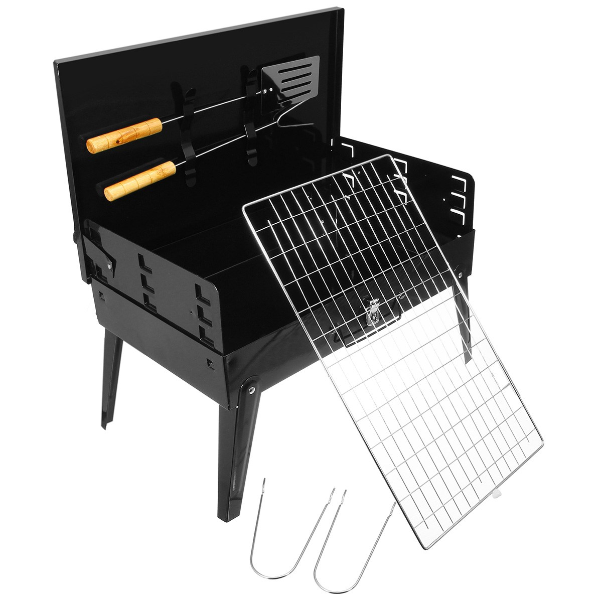 Folding Portable BBQ Barbecue Grill with Tools Charcoal Camping Garden Outdoor tools Stainless Steel Cooking Tools Stove Ware automatic smokeless bbq grill household electric hotplate stove teppanyaki barbecue pan skewer machine stainless steel outdoor