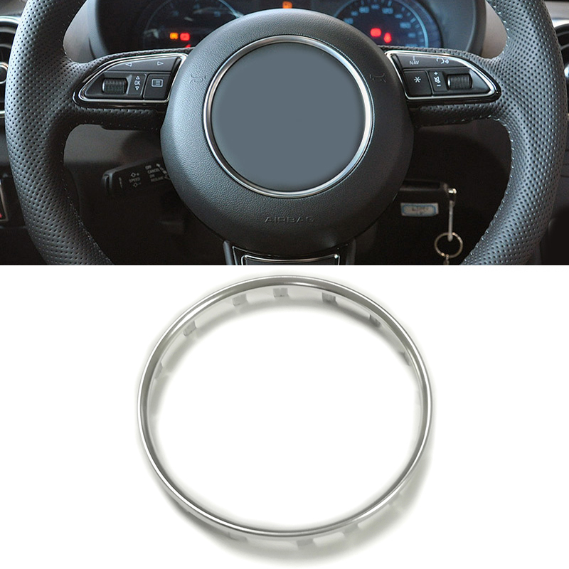 Car ABS Chrome Steering Wheel Ring Trim Sticker Center Emblem Logo Frame Sequin Cover Accessories For Audi A1 A4 B9 A5 A7