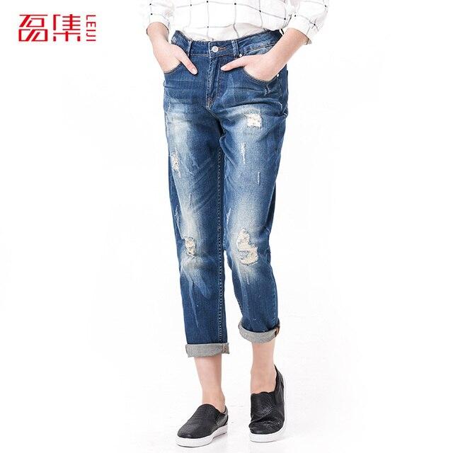 Leiji Мода S 6XL 2016 Femme Парень Синий Ripped Плюс размер Женщины Полная Длина Эластичный Средний Талия Винтаж Тощий Карандаш джинсы