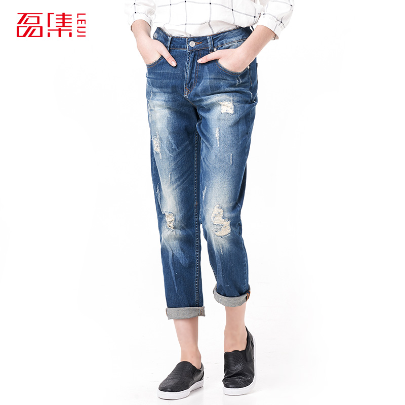 Leiji Fashion S 6XL 2017 Femme Boyfriend Blue Ripped Plus Size Women Full Length Elastic Mid