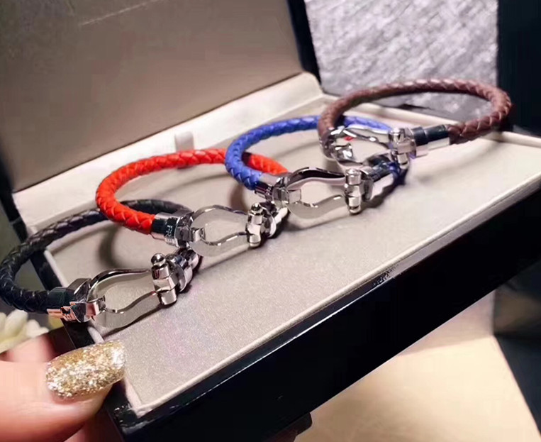 France paris famous brand imitation jewelry u bracelet,magnet buckle genuine cow leather bangles silver color bijoux for women