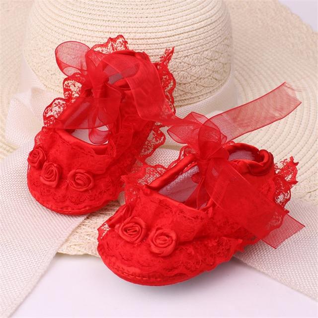 יילוד תינוקת נעלי נסיכת מסיבת תחרה פרחוני רך Sole עריסה נעליים אנטי להחליק נעל Prewalker פעוט ילד 0 -12 M