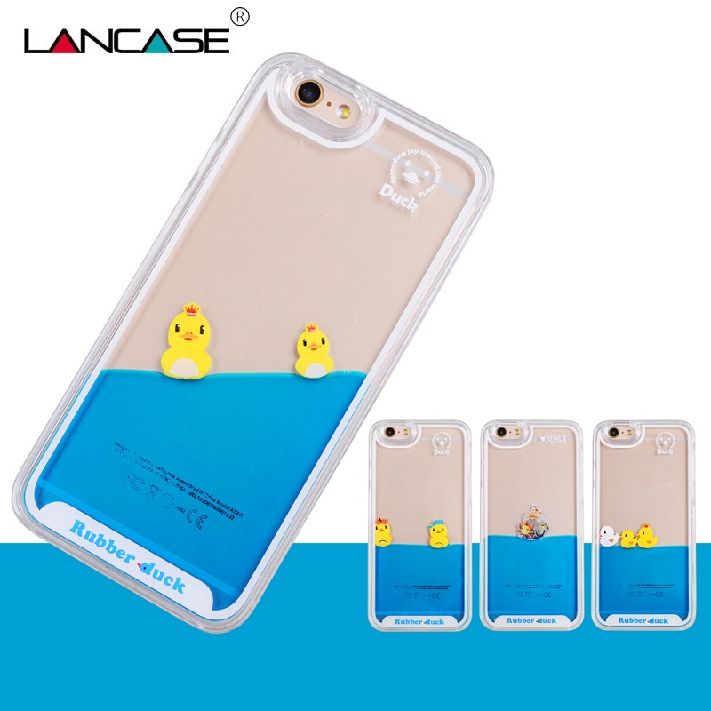 For Coque iPhone 5S Cute Flowing Liquid Swimming Yellow Duck Hard Transparent Back Case For iPhone 5s Case 6 6S/6 Plus/6S Plus