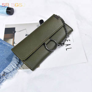 Long Wallet Purse Clutch Cash-Phone-Holder Leather Women Ring Link-Chains