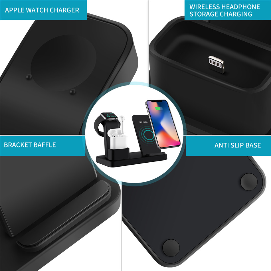 For apple watch charger 3 In 1 Charging Dock Station Bracket Cradle Stand phone holder  For IPhone XR X 8 7 6 Wireless QI Dock   (8)