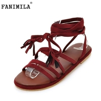 FANIMILA Size 32 43 Fanshion Women Flats Gladiator Sandals Open Toe Cross Strap Sandals Summer Daily