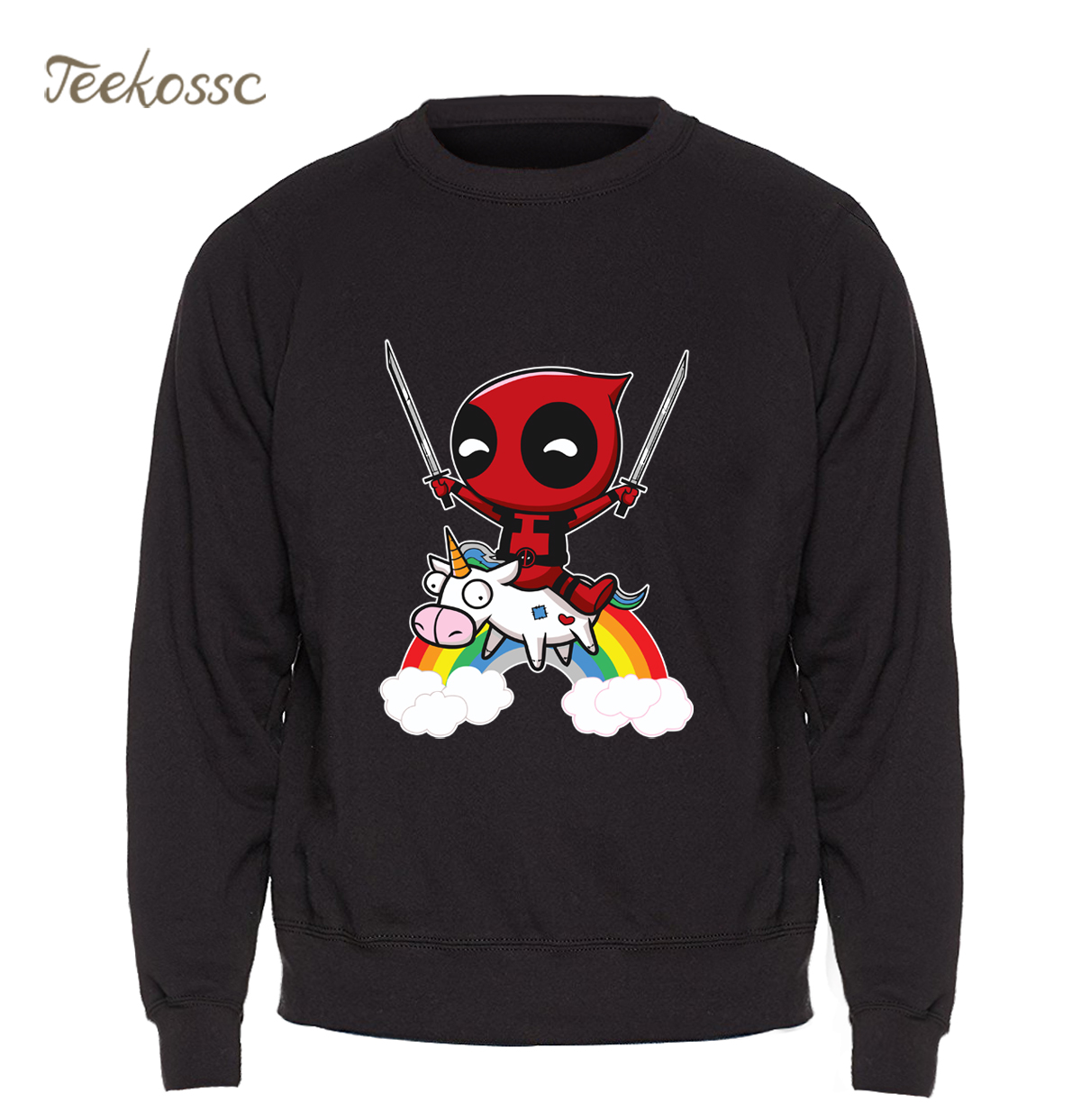 Deadpool Sweatshirt Men Funny Print Hoodie Crewneck Sweatshirts Winter Autumn Black Dead Pool Super Hero Hipster Brand Clothing(China)