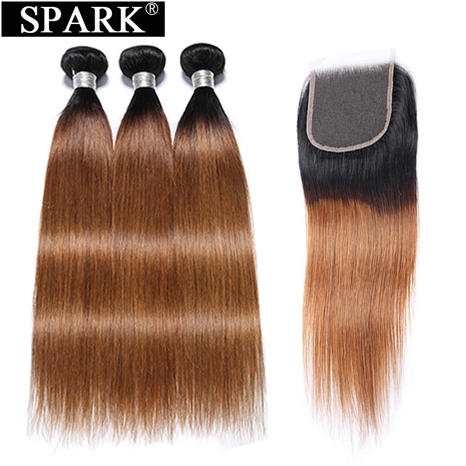Spark Peruvian Straight Human Hair Weave 3 4 Bundles With Closure For Black Women Remy Hair
