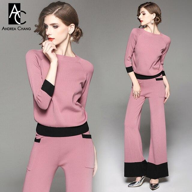 0b5544b6747 Automne hiver femme tenue rose tricoté outfit noir manchette 3 4 manches  chandail noir fond