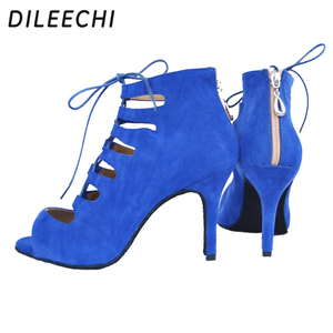 Image 4 - DILEECHI new arrival red blue black velvet heels Latin dance shoes womens Wedding party Salsa dancing shoes soft outsole 8.5cm