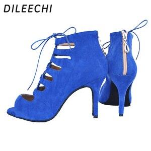 Image 4 - Dileechi sapatos de dança femininos, vermelho, azul, preto, veludo, sapatos de dança, festa de casamento, salsa, suave 8.5cm