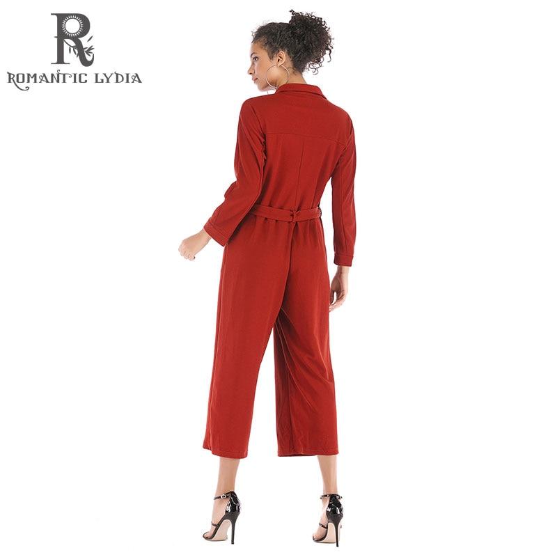 Longue Salopette Pantalon Hiver Automne Single breasted Femmes Large 5905 Parti Rouge Barboteuses Jambe Lâche Ceintures Club 1618 rqngrH