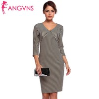 ANGVNS Women Striped Pencil Dress Sexy 3 4 Sleeve V Neck Wear To Work Business Office