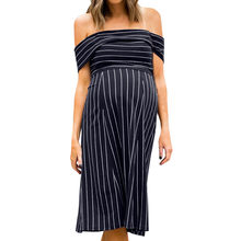 Women's Stripe Off Shoulder Knee Length Maternity One Word Collar Short Sleeve Dress Vestidos Para Embarazadas Gravidas(China)