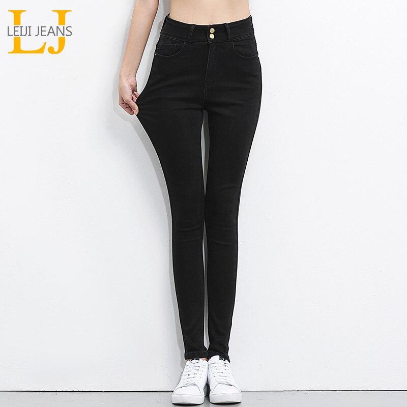 LEIJIJEANS 2018 Plus Size calças de brim das mulheres jeans Preto Jeans de Cintura Alta mulheres calças alta elastic Magro Lápis Estiramento calças de Brim Das Mulheres